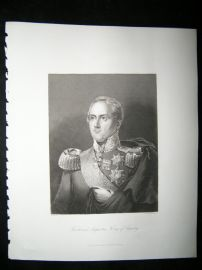 Frederick Augustus, King of Saxony 1847 Steel Engraving, Antique Print